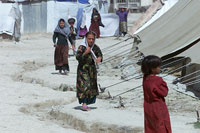 Children in a refugee camp outside Kabul. Widows and orphans dominate the camps (photo:  Michael Lund)