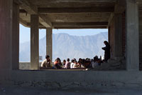 Afghan children recieve education in unfinished buildings in Kabul (photo: Michael Lund)