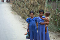 Young girls in a village on their way to school in Northern Bangladesh (photo: Michael Lund)