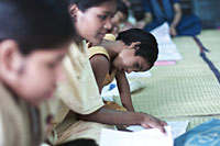Domestic workers live like slaves in Bangladesh. Here some of them recieve education (photo: Michael Lund)